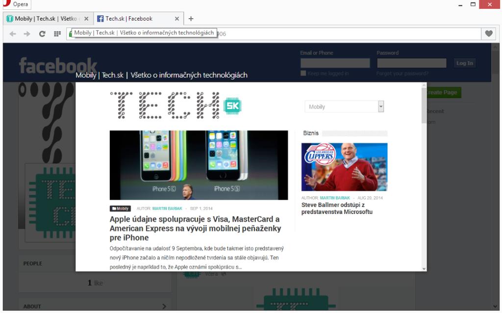 Náhľad webovej stránky v novej verzii Opery.